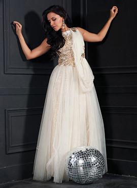 Off White Net Neha Dhupia Gown