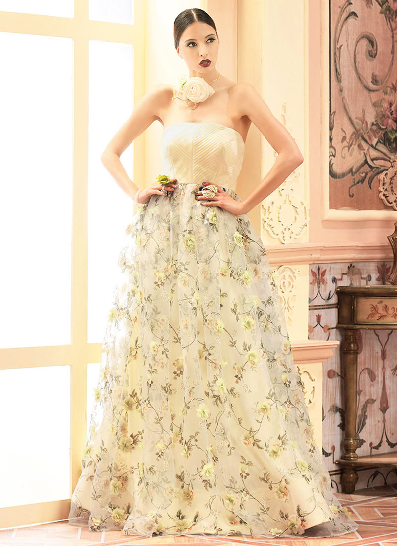 Buy Off White Organza Anarkali Gown Embroidered Printed Dresses