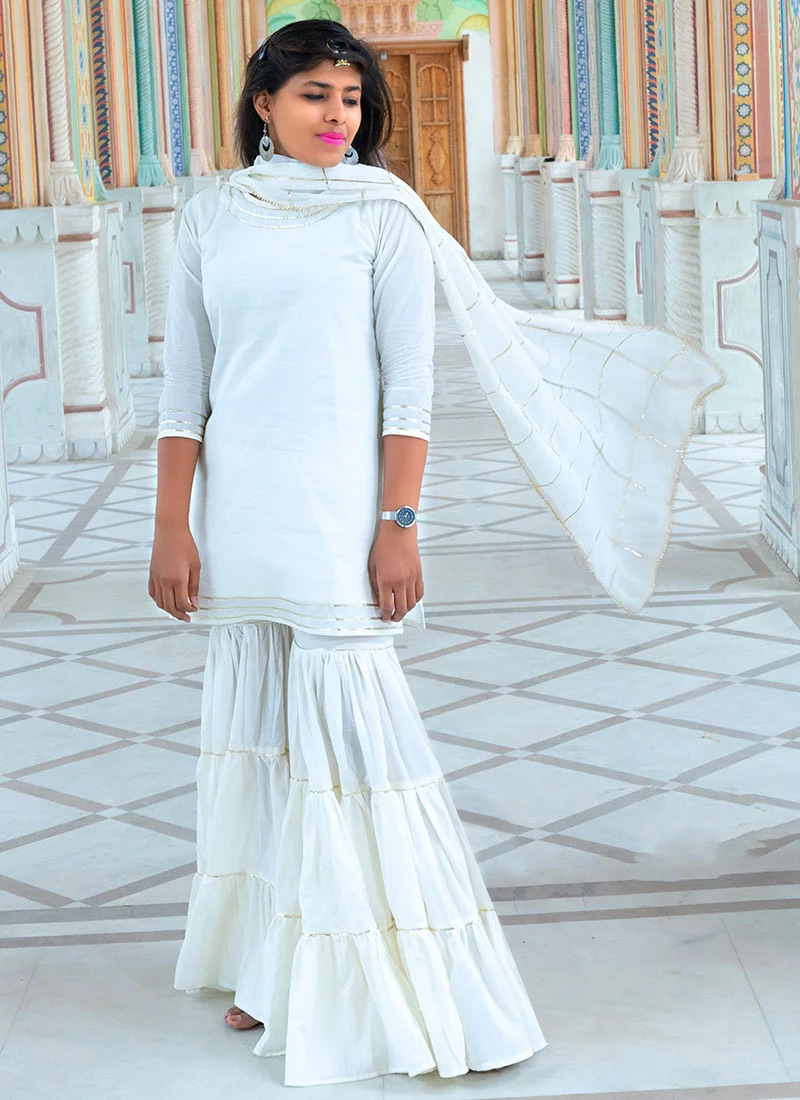 Buy Off White Plain Sharara Suit, Zari, sharara suit Online Shopping ...
