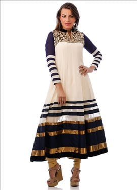 Off White Plus Size Anarkali Kurti