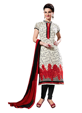 Off White Printed Churidar Suit