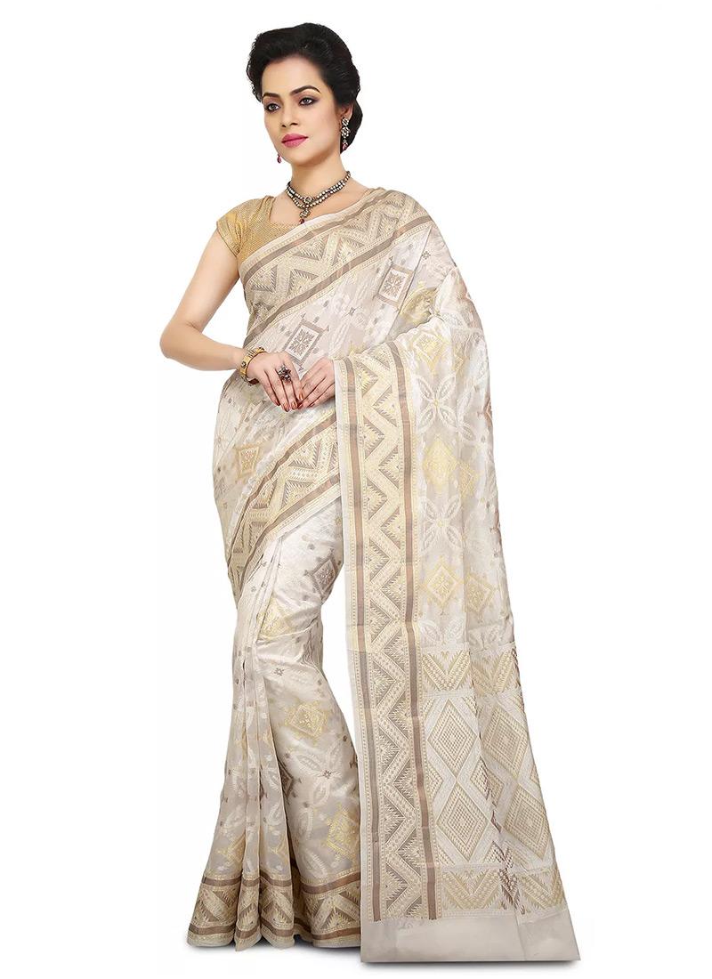 e6e3506277 Buy Off White Pure Benarasi Silk Saree, Benarasi , Zari, sari Online ...