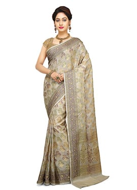 Off White Pure Benarasi Silk Saree