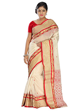 Off White Pure Cotton Tangail Saree