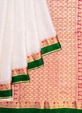 Off White Pure Handloom Mysore Silk Saree