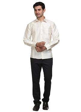 Off White Pure Silk Classic Shirt