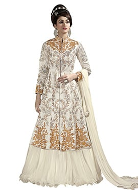 Off White Pure Silk Long Choli Lehenga