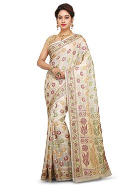 Off White Pure Silk Saree