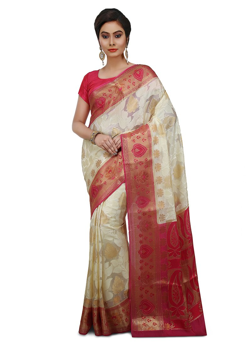 51977a6823 Buy Off White Pure Silk Saree, Zari, sari Online Shopping | SAVNS305F