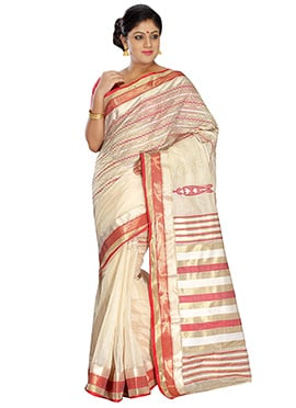 Off White Pure Silk Tangail Saree