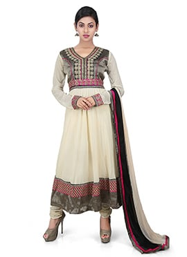 Off White Rayon Anarkali Suit