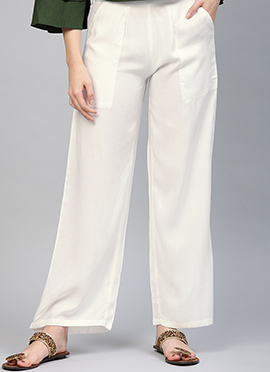 Off White Regular Fit Palazzo Pant