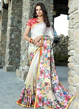 Off White Satin Blend Saree