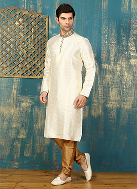 Off White Satin Brocade Kurta Pyjama