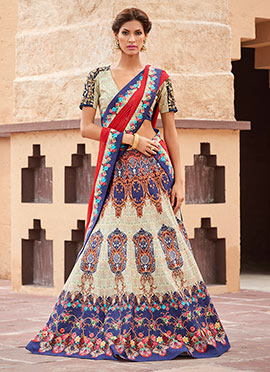 Off White Satin Silk A Line Lehenga