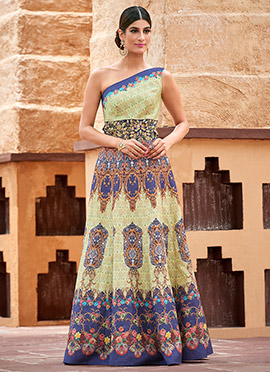 Off White Satin Silk Anarkali Gown