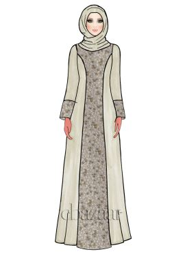 Off White Shimmer Georgette Abaya