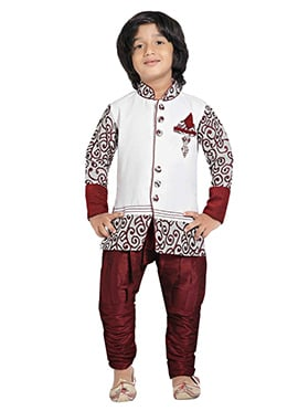 White Silk Blend Boys Indowestern Sherwani