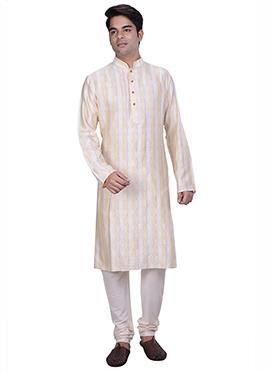 Cream Silk Cotton Jacquard Kurta Pyjama