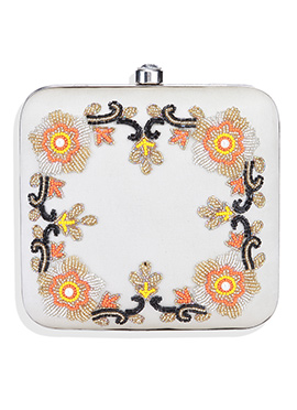 Off White Taffeta Beads Embellished Clutch