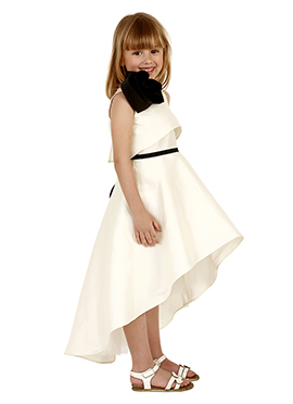 Off White Taffeta Silk Kids Dress