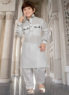 Off White Teens Art Silk Cotton Pathani Set