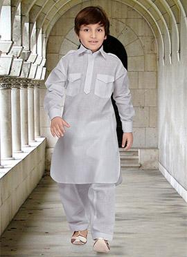 White Teens Art Silk Cotton Pathani Set
