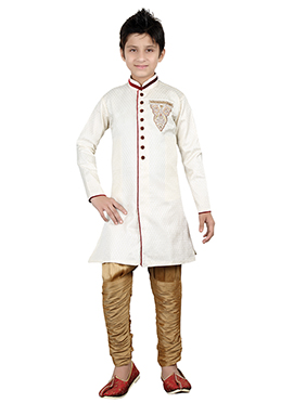 Off White Teens Breeches Style Sherwani