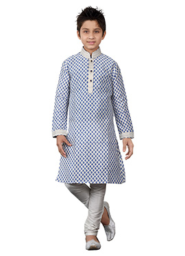 Off White Teens Kurta Pyjama