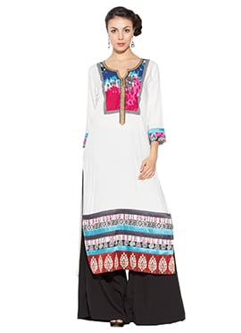 White Viscose Long Kurti