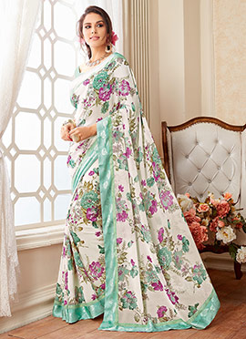 Offwhite N Light Green Floral Georgette Saree