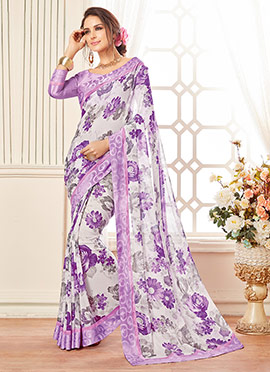 Offwhite N Purple Floral Georgette Saree