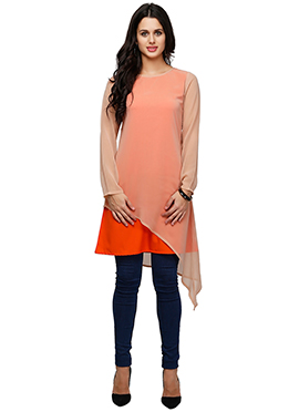 Ojjasvi Beige N Orange Asymmetric Hem Kurti