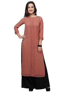 Ojjasvi Brown Georgette Kurti