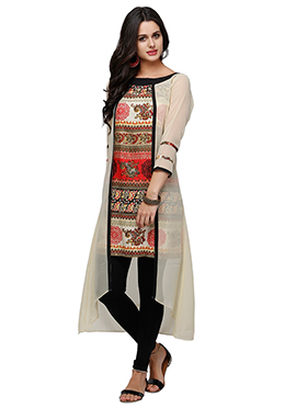 Ojjasvi Cream N Multicolored Kurti