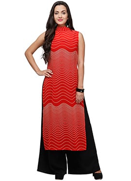 Ojjasvi Georgette Red Long Kurti