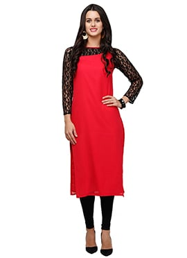 Ojjasvi Red Georgette Long Kurti