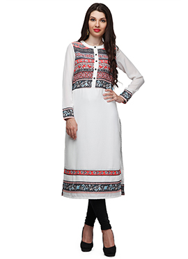 Ojjasvi White Printed Cotton Long Kurti