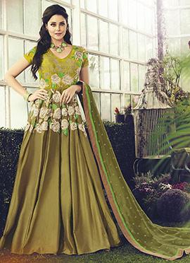 Olive Green Abaya Style Anarkali Suit