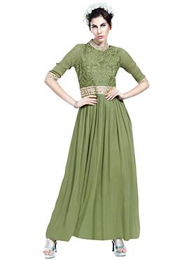 Olive Green Anarkali Set