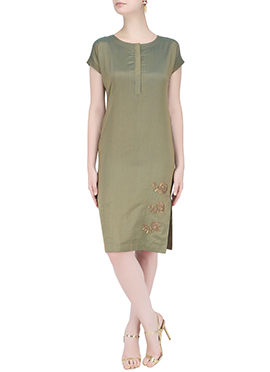 Olive Green Art Silk Dress