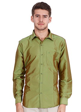 Olive Green Art Silk Shirt