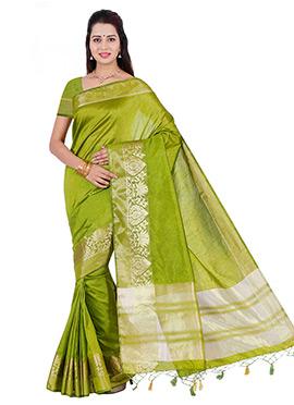 Olive Green Art Tussar Silk Border Saree