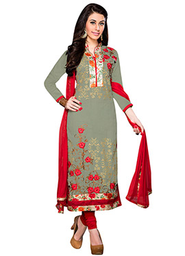 Olive Green Blended Cotton Straight Suit