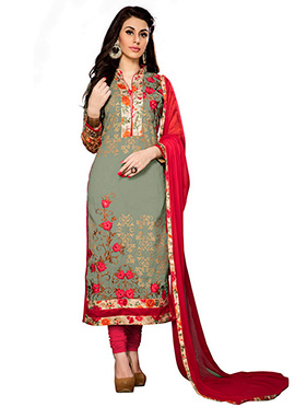 Olive Green Cambric Cotton Churidar Suit