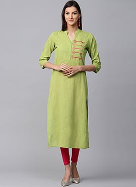 Olive Green Cotton Long Kurti