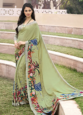 Olive Green Crepe Saree