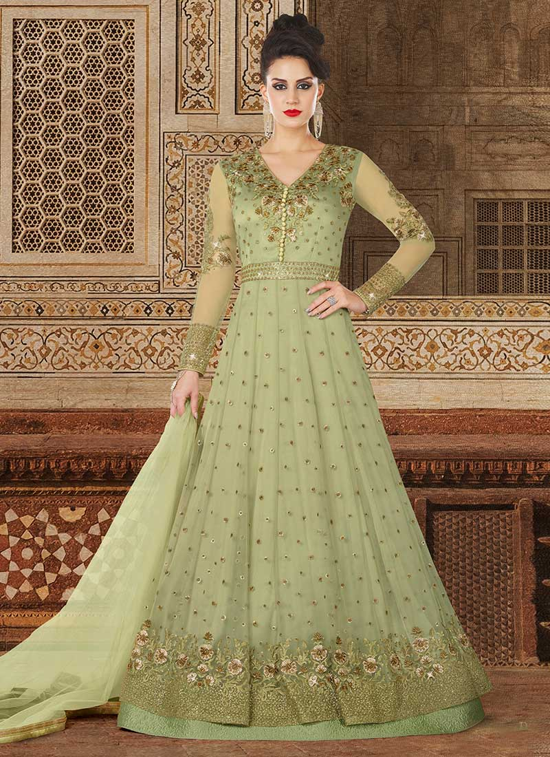 0d8fdae6032a Buy Olive Green Embroidered Anarkali Suit