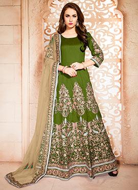 Olive Green Embroidered Floor Length Anarkali Suit