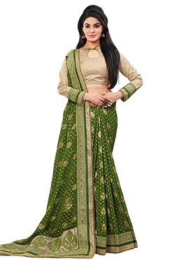Olive Green Georgette Foliage Patterned Saree